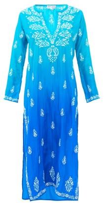 Juliet Dunn Ombre Sequin-embroidered Silk Kaftan - Blue Multi