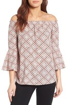 Bobeau Women's Bell Sleeve Off The Shoulder Blouse