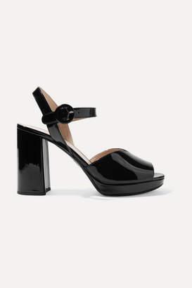 Prada 95 Patent-leather Platform Sandals - Black