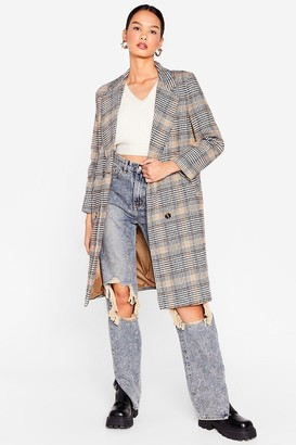 Nasty Gal Womens Check You Out Faux Wool Longline Coat - Camel