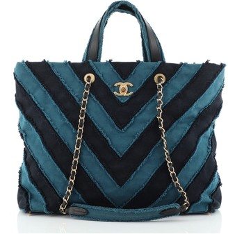 Chanel Shopping Tote Chevron Canvas Patchwork Large