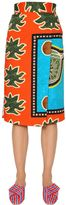 Stella Jean Wrap Over Printed Double Gabardine Skirt