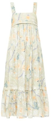 Chloé Floral-print Voile Midi Dress - Green Print