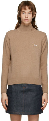 MAISON KITSUNÉ Beige Wool Fox Patch Turtleneck