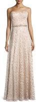 Aidan Mattox Sweetheart-Neck Strapless Lace Gown, Light Gold