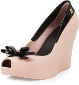 Melissa Shoes Queen Peep-Toe Wedge Pump, Pink/Black