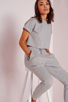 Missguided Roll Sleeve Cotton Crop Top Grey