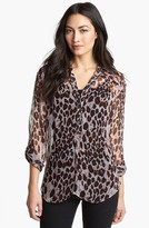 Casual Studio Roll Sleeve Sheer Blouse Leopard Print Large