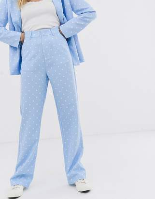 Daisy Street straight leg tailored trouser in star print co-ord-Blue