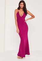 Missguided Cross Back Plunge Fishtail Maxi Dress Pink