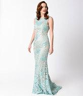 Unique Vintage Aqua & Nude Fitted Sequined Long Dress