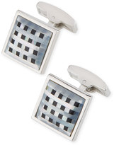 Bugatchi Square Enamel & Mother-of-Pearl Plaid Cuff Links