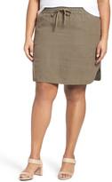Caslon R) Drawstring Waist Linen Skirt (Plus Size)