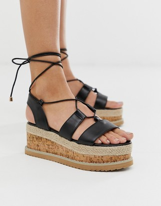Truffle Collection lace up espadrille flatorm sandals