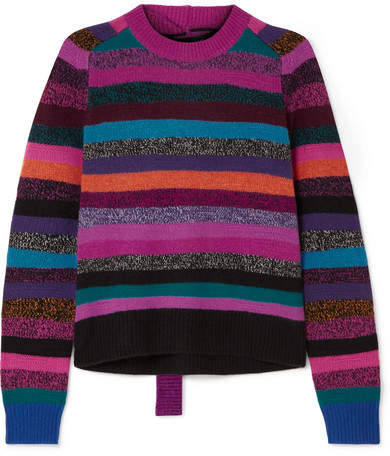 Marc Jacobs Tie-back Striped Cashmere Sweater - Pink