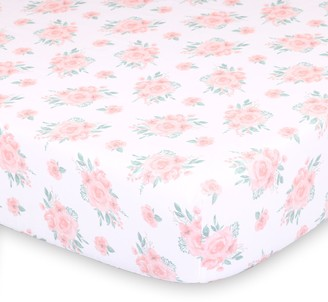 The Peanut Shell Farmhouse Pink Floral Fitted Crib Sheet