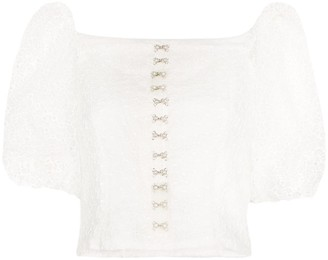 Shrimps Tex embroidered organza blouse