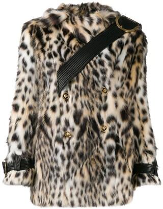 Versace Double-Breasted Leopard Print Faux-Fur Coat