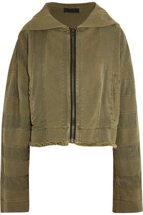 Haider Ackermann Hooded Twill-Trimmed Cotton-Jersey Jacket