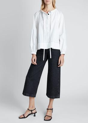 Proenza Schouler White Label Long-Sleeve Cotton Tie-Neck Blouse
