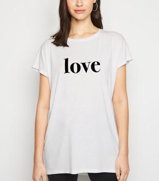 New Look Love Flocked Slogan T-Shirt