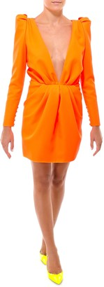 Saint Laurent Plunging V-Neck Mini Dress
