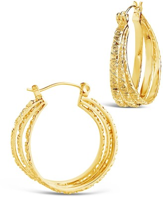 Sterling Forever 14K Yellow Gold Plated Triple Layer Textured 25mm Hoop Earrings