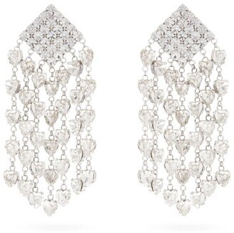 Alessandra Rich Crystal Embellished Heart Drop Clip Earrings - Womens - Crystal