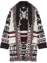 Etro Fringed Wool-jacquard Cardigan