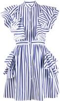 MSGM striped ruffle detail dress
