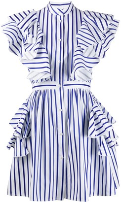 MSGM striped ruffle detail dress
