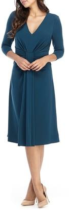Maggy London Draped Stretch Midi Dress