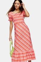 Topshop Red Check Shirred Midi Dress