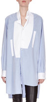 Loewe Asymmetric Two-Tone Poplin Blouse, Blue/White