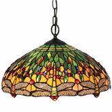 AMORA Amora Lighting AM1027HL18 Tiffany Style DragonflyHanging Lamp 18 Inches