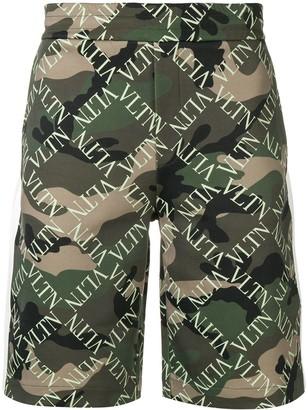 Valentino Camouflage Logo Track Shorts