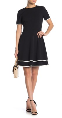 London Times Contrast Trim Tiered Dress