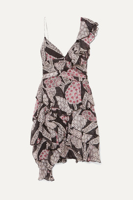 Isabel Marant Enta Asymmetric Ruffled Printed Silk-voile Mini Dress - Black