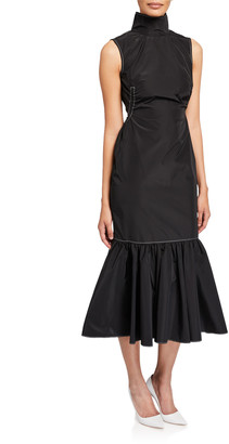 Camilla And Marc Cella Sleeveless High-Neck Midi Flounce-Hem Dress