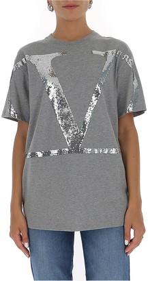 Valentino Sequin-Embellished Logo T-Shirt