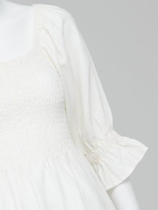 Very Shirred Body Linen Midi Dress - White