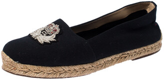 Christian Louboutin Navy Blue Canvas Gala Embroidered Crest Espadrille Loafers Size 39