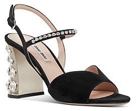 Miu Miu Women's Crystal Embellished Block Heel Sandals