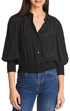 1 STATE Dotted Smock Trim Top