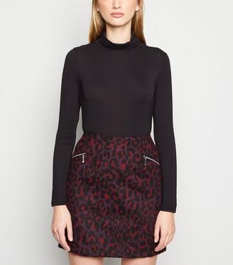 New Look Brushed Leopard Print Mini Skirt