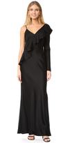 Diane von Furstenberg Asymmetrical Ruffle Sleeve Floor Length Dress