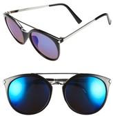 BP Women's 55Mm Mirrored Sunglasses - Black/ Blue