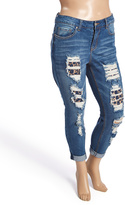 Dollhouse Viking Blue Destroyed Crop Jeans - Plus