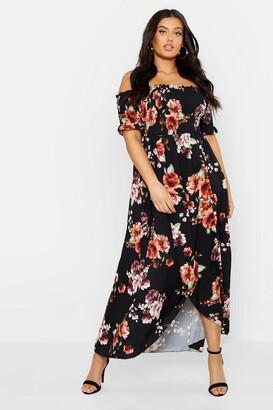 boohoo Plus Floral Off Shoulder Maxi Dress
