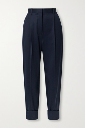 The Row Marta Wool-twill Tapered Pants - Midnight blue